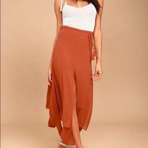 Lulus Breeze Away Rust Orange Midi Skirt